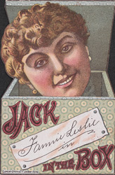 Advert for Fannie Leslie appearing in the play 'Jack in the Box'